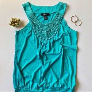 Turquoise Beaded Top